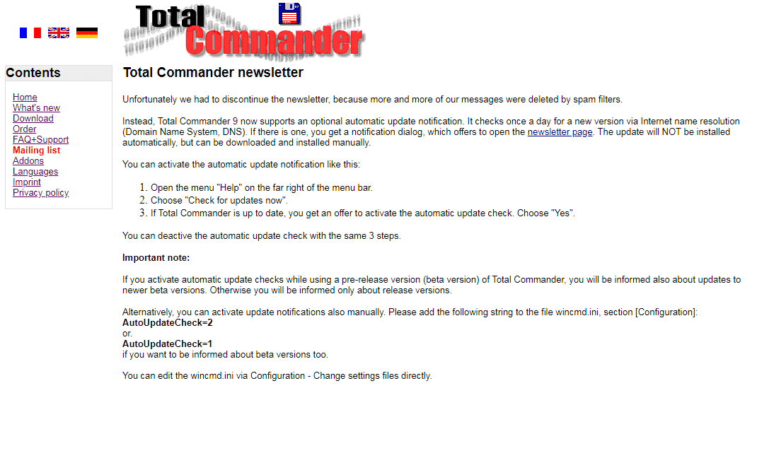 Официальный сайт: рассылка новостей